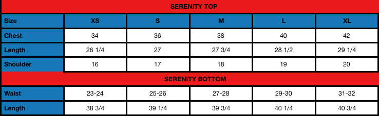Serenity (W) Size Chart